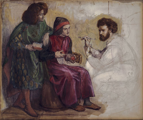 Dante Gabriel Rossetti, Giotto Painting Dante's Portrait, c. 1859. Watercolor, gouache, and graphite on cream wove paper, mounted to paper-backed canvas. Harvard Art Museums/Fogg Museum, Bequest of Grenville L. Winthrop, 1943.488.