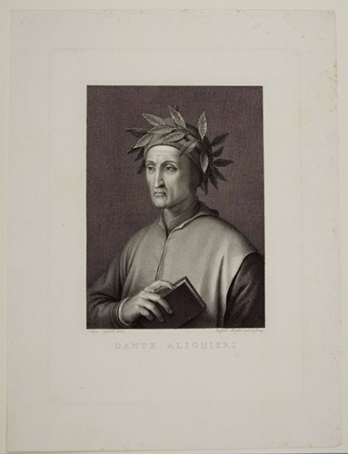 Raphael Morghen, after Stefano Tofanelli, Dante Alighieri, 18th–19th century. Engraving. Harvard Art Museums/Fogg Museum, Gift of the heirs of Mrs. Mary Hemenway, M870.
