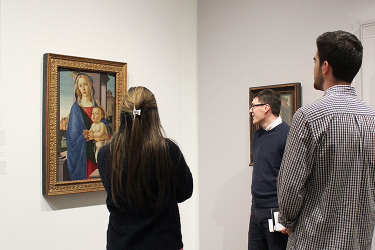 Students from the Italian class on Dante discuss, in Italian, works of art in the galleries.