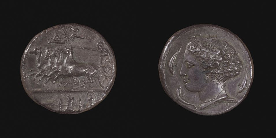 Decadrachm of Syracuse, signed by Kimon, Greek, Classical period, c. 405 BCE. Silver. Harvard Art Museums/Arthur M. Sackler Museum, Bequest of Frederick M. Watkins, 1972.212.