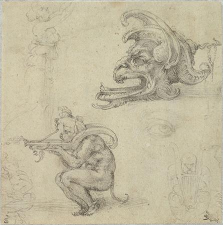 Michelangelo Buonarroti, Goldsmith's Designs and Other Studies, 1521. Black chalk on beige antique laid paper; verso: black chalk. Harvard Art Museums/Fogg Museum, Bequest of Charles A. Loeser, 1932.152.