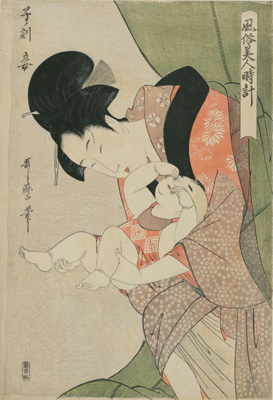Kitagawa Utamaro, Hour of the Rat [Midnight]: The Mistress (Ne no koku, mekake), c. 1798–99. Woodblock print; ink and color on paper. Harvard Art Museums/Arthur M. Sackler Museum, Gift of the Friends of Arthur B. Duel, 1933.4.589.