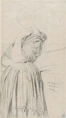 Jean-Auguste-Dominique Ingres, Study for the Portrait of Madame Othenin d'Haussonville, 1842–45. Black chalk and graphite on white wove paper. Harvard Art Museums/Fogg Museum, Bequest of Meta and Paul J. Sachs, 1965.295.