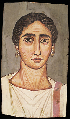 Mummy Portrait of a Woman, Egyptian, Roman Imperial period, c. 200 CE. Tempera on hardwood. Harvard Art Museums/Arthur M. Sackler Museum, Gift of Mrs. John D. Rockefeller, Jr., 1939.111.