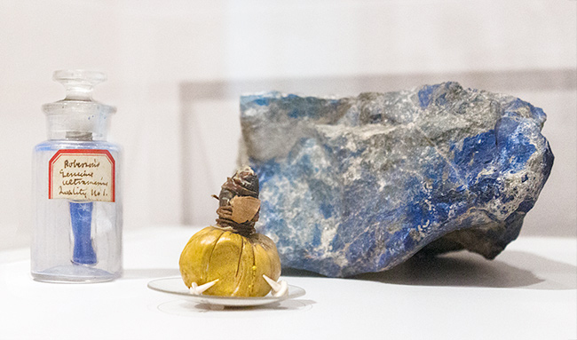 Among the objects on display are a chunk of the semiprecious gem lapis lazuli; the treasured ultramarine pigment created from the gem; and an animal-skin bladder, used by 18th- and 19th-century artists for storing their oil paints.