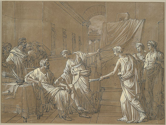 François-André Vincent, The Painter Apelles, 1815. Black ink and white gouache on blue laid paper prepared with brown wash, framing lines in brown ink, laid down on cream card. Harvard Art Museums/Fogg Museum, The Melvin R. Seiden Fund, Louise Haskell Daly Fund and Paul J. Sachs Memorial Fund, 1985.50.