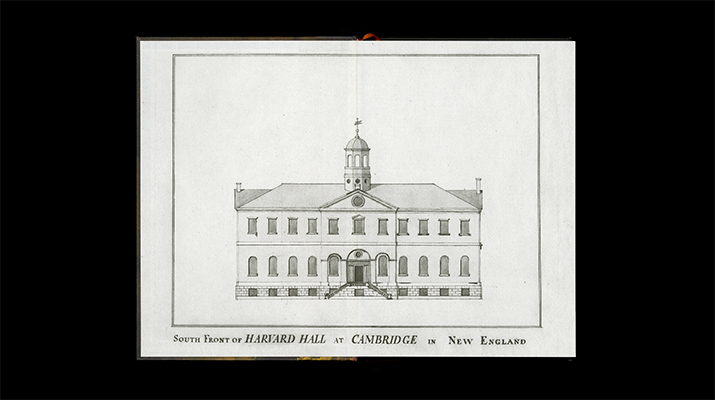 Harvard Hall, where the Philosophy Chamber was located, is depicted in the front endsheet.