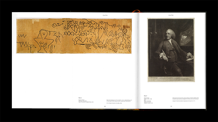 A fold-out page reveals an image of inscriptions that Harvard professor Stephen Sewall made on Dighton Rock in 1768.