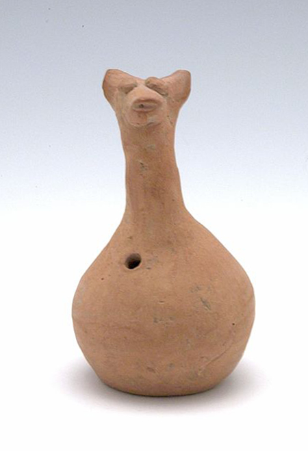 Small Rattle in the Form of an Animal, Chinese, Qijia culture, 2200–1500 BCE. Buff earthenware with modeled and appliqué decoration. Harvard Art Museums/Arthur M. Sackler Museum, Partial gift of the Walter C. Sedgwick Foundation and partial purchase through the Ernest B. and Helen Pratt Dane Fund for the Acquisition of Oriental Art, 2006.170.51.