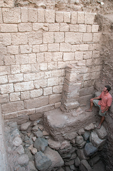 Area director Will Bruce at the expedition site, standing with one foot below in the 7th century BCE, at the beginning of Sardis's history, and the other in the 7th century CE.