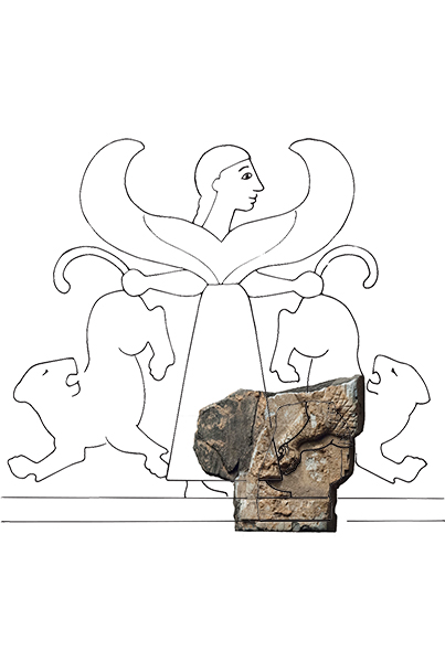 Site artist Cathy Alexander incorporated this ivory fragment, found in 2012, into a reconstruction drawing.