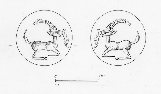 This drawing shows a design from a jasper sealstone; the drawing of the design itself is on the left; the impression it would have left is on the right.