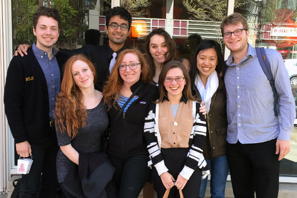 Back row: Robert Fitzpatrick, Siddhartha Jena, Carter Stratton, Sophia Feng ('17), and James Thurm; front row: Maille Radford ('17), Katharine Barton, and Rachel Thompson.