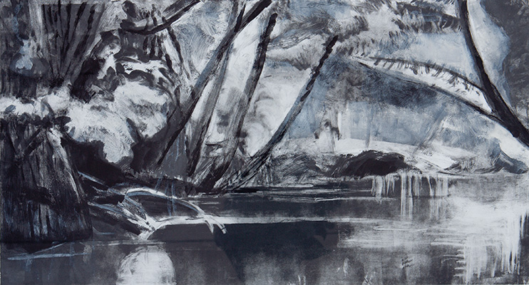 Judy Bergman Hochberg, Mangroves II, 1995. Monotype printed in black, gray, and white on white wove paper. Harvard Art Museums/Fogg Museum, Student Print Rental Program, SR1792.