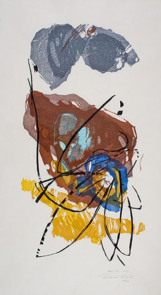 Takahashi Rikio, Nest (5A), 1967. Color woodcut. Harvard Art Museums/Fogg Museum, Student Print Rental Program, SR1721.