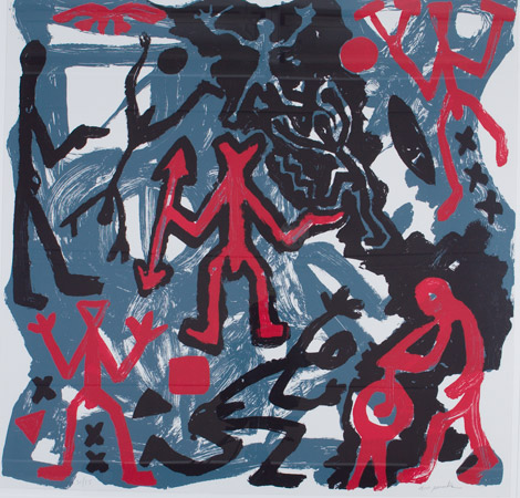A. R. Penck, Untitled, 1985. Three-color screenprint. Harvard Art Museums/Fogg Museum, Student Print Rental Fund, SR1723.