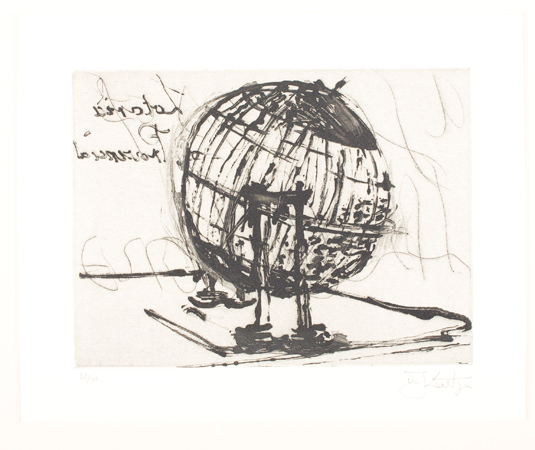 William Kentridge, Globe, 2003. Sugar lift etching. Harvard Art Museums/Fogg Museum, Student Print Rental Fund, SR1901.