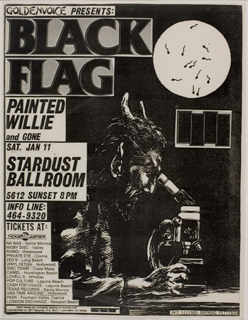 Raymond Pettibon, Black Flag/Painted Willie and Gone, 1986. Harvard Art Museums/Fogg Museum, Student Print Rental Fund, SR1913.