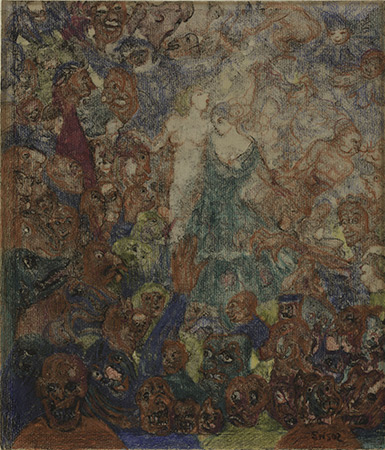 James Ensor, Temptation, after 1900. Crayon and brown ink on off-white laid paper. Harvard Art Museums/Fogg Museum, Gift of Daniel and Lana Branton in memory of Poldek Branton, 2014.12.