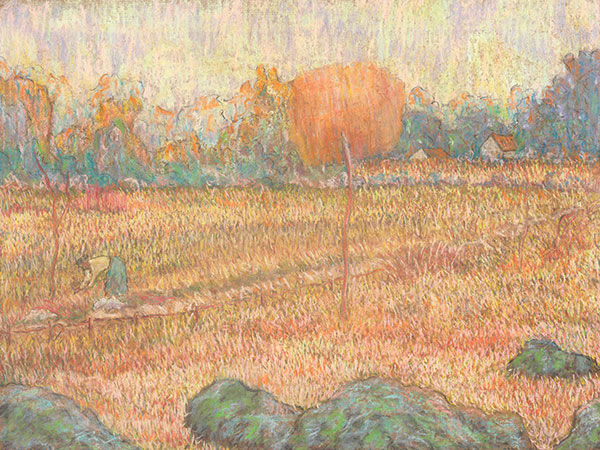 Claude Emile Schuffenecker, Landscape with an Orange Tree, 1889–91. Pastel on cardboard. Harvard Art Museums/Fogg Museum, Richard Norton Memorial Fund and Marian H. Phinney Fund, 2015.49.