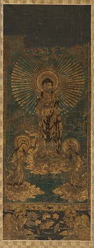 Welcoming Descent of Amitābha, Japanese, Nambokuchō period, 14th century. Embroidery cut down from a hanging scroll mounting and framed: dyed silk satin-stitch embroidery on painted silk ground. Harvard Art Museums/Arthur M. Sackler Museum, Partial gift of Walter C. Sedgwick and partial purchase through the Philip Hofer Fund for the Purchase of Asian Art, 2006.169.5.