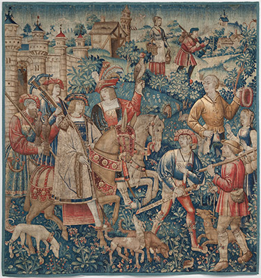 Hawking Scene, c. 1495–1515. Wool. Harvard Art Museums/Fogg Museum, Bequest of Emmet Blakeney Gleason, 1959.112.1.