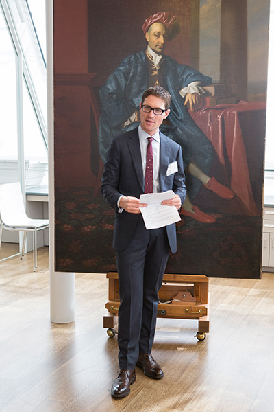 Ethan Lasser, head of the Division of European and American Art and the Theodore E. Stebbins, Jr., Curator of American Art, speaks to guests about Nicholas Boylston's 1767 portrait of John Singleton Copley. Photo: © Brenna Eagan.