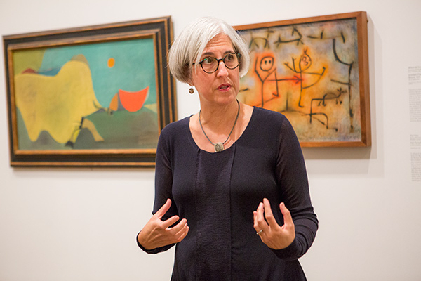 Sarah Kianovsky, curator of the collection in the Division of Modern and Contemporary Art, talks to visitors in the galleries. Photo: © Brenna Eagan.