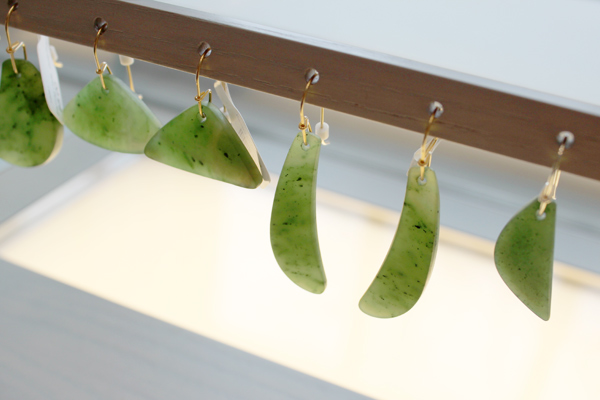 Harvard Art Museums' senior exhibitions specialist Peter Schilling creates carved jade earrings and pendants that are inspired by his familiarity with the museums' ancient Chinese jade collection.