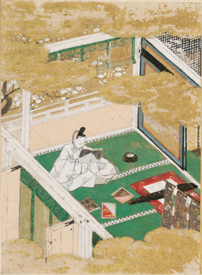Tosa Mitsunobu, The Warbler's First Song (Hatsune), illustration to Chapter 23 of the Tale of Genji, Japanese, Muromachi period, datable to 1509–10. Ink, color, and gold on paper. Harvard Art Museums/Arthur M. Sackler Museum, Bequest of the Hofer Collection of the Arts of Asia, 1985.352.23.A.