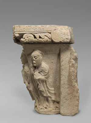 The right face of the capital, showing a holy woman approaching the two women and the angel that appear on the front face of the capital.