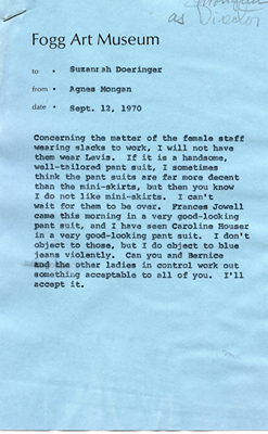 Memo from Agnes Mongan to Suzannah Doeringer, September 12, 1970. Courtesy of the Harvard Art Museums Archives.