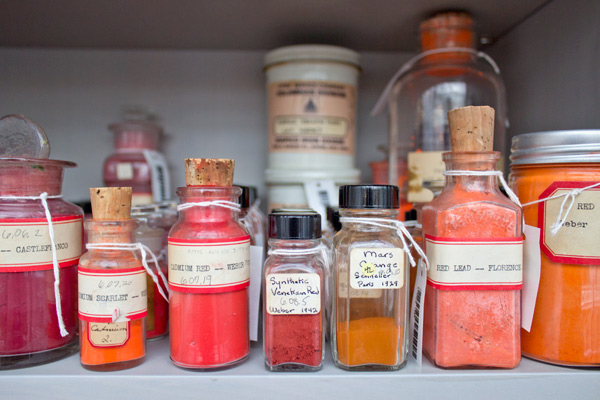The pigments in the collection come from all over the world, and some are stored in their original delicate glass containers.