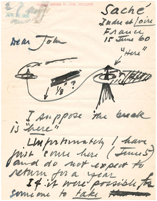 Letter, Alexander Calder to John Coolidge, June 15, 1960. © 2013 Calder Foundation, New York/ Artists Rights Society (ARS), New York. Courtesy Harvard Art Museums Archives.