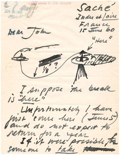 Letter, Alexander Calder to John Coolidge, June 15, 1960. © 2013 Calder Foundation, New York/ Artists Rights Society (ARS), New York. Courtesy Harvard Art MuseumsArchives.