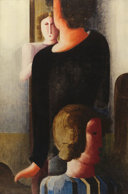 Oskar Schlemmer, Three Figures with Furniture-like Forms, 1929, Harvard Art Museums/Busch-Reisinger Museum.
