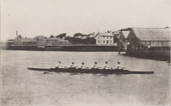 Harvard 1858 row team (Alexander Agassiz, James Harris Ellison, Joseph Howe Wales, Charles William Eliot, Casper Crowninshield, and Capt. Benjamin W. Crowninshield). Photograph, 1858. Courtesy Harvard University Archives.