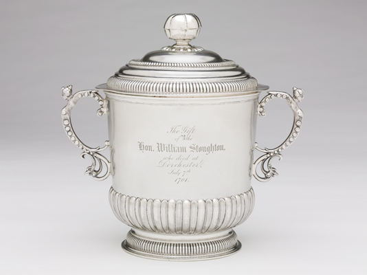 John Coney, Stoughton Cup, 1701. Silver. Harvard Art Museums/Fogg Museum, Loan from Harvard University; Gift to Harvard College from the Honorable William Stoughton, 1701, 877.1927.A–B.