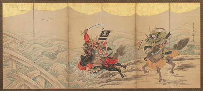 Soga Shōhaku, Race at the Uji River, Japanese, Edo period, mid-18th century. Six-panel folding screen; ink, color, and gold leaf on paper. Harvard Art Museums/Arthur M. Sackler Museum, Promised gift of Robert S. and Betsy G. Feinberg. Photo: John Tsantes and Neil Greentree.