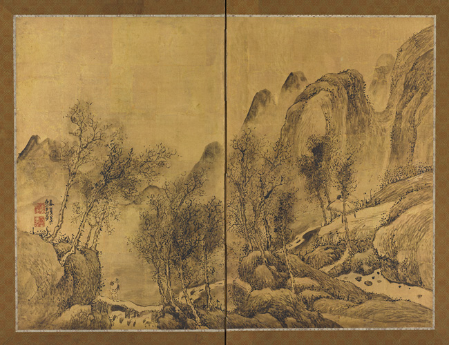 Yosa Buson, Landscape: Lone Traveler in Wintry Mountains, Japanese, Edo period, dated 1778. Two panel folding screen; ink and gold leaf on paper. Harvard Art Museums/Arthur M. Sackler Museum, Promised gift of Robert S. and Betsy G. Feinberg. Photo: John Tsantes and Neil Greentree.