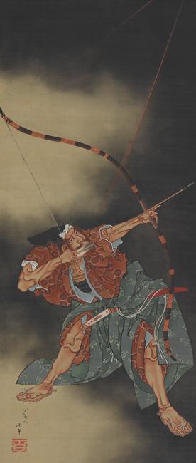Katsushika Hokusai, Minamoto no Yorimasa Aiming an Arrow, Japanese, Edo period, dated 1847. Hanging scroll; ink and color on silk. Harvard Art Museums/Arthur M. Sackler Museum, Promised gift of Robert S. and Betsy G. Feinberg. Photo: John Tsantes and Neil Greentree.