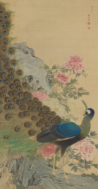 Maruyama Ōkyo, Peacock and Peonies, Japanese, Edo period, dated 1768. Hanging scroll; ink, color, and gold paint on silk. Harvard Art Museums/Arthur M. Sackler Museum, Promised gift of Robert S. and Betsy G. Feinberg. Photo: John Tsantes and Neil Greentree.