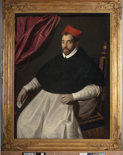 Scipione Pulzone's Michele Cardinal Bonelli (1586), before it received a new frame.