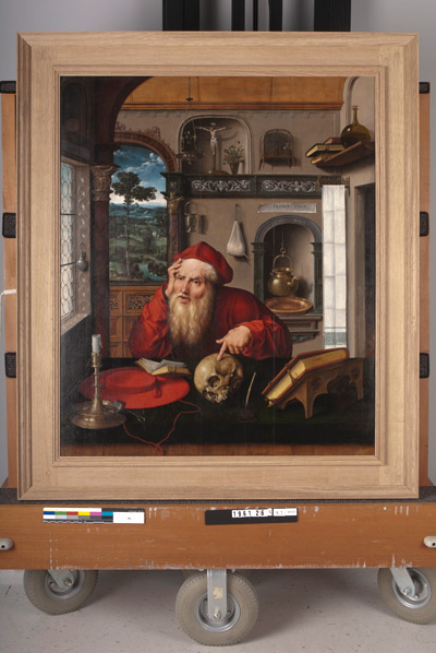 Joos van Cleve's Saint Jerome in His Study (c. 1521) in the process of getting a new frame.