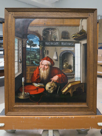 Saint Jerome in His Study, with its completed frame, ready for display in the new Harvard Art Museums.