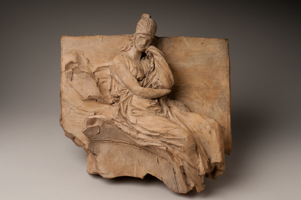 Gian Lorenzo Bernini, Allegorical Figure, 1630/1631. Terracotta. Harvard Art Museums/Fogg Museum, Alpheus Hyatt Purchasing and Friends of the Fogg Art Museum Funds, 1937.75. A sketch in relief for the Memorial to Carlo Barberini, Santa Maria in Aracoeli, Rome.