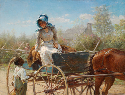 Edward Lamson Henry, The Message, 1893. Oil on board. Harvard Art Museums/Fogg Museum, Gift of Theodore E. Stebbins, Jr., 2003.279.