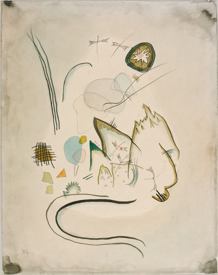 Wassily Kandinsky, Untitled, 1918. Watercolor, black ink, and graphite traces on off-white wove paper. Harvard Art Museums/Busch-Reisinger Museum, Anonymous gift in memory of Curt Valentin, BR56.50. © Artists Rights Society (ARS), New York/ADAGP, Paris.