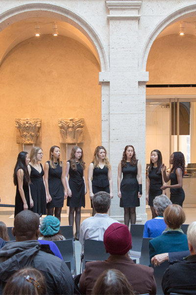 The a cappella group Radcliffe Pitches performed during the Cambridge Community Day welcoming ceremony. Photo: Tom Fitzsimmons.