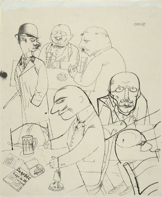 George Grosz, Café, c. 1919. Black ink on tan wove paper. Harvard Art Museums/Busch-Reisinger Museum, Purchase, BR34.195. Art © Estate of George Grosz/Licensed by VAGA, New York, NY.
